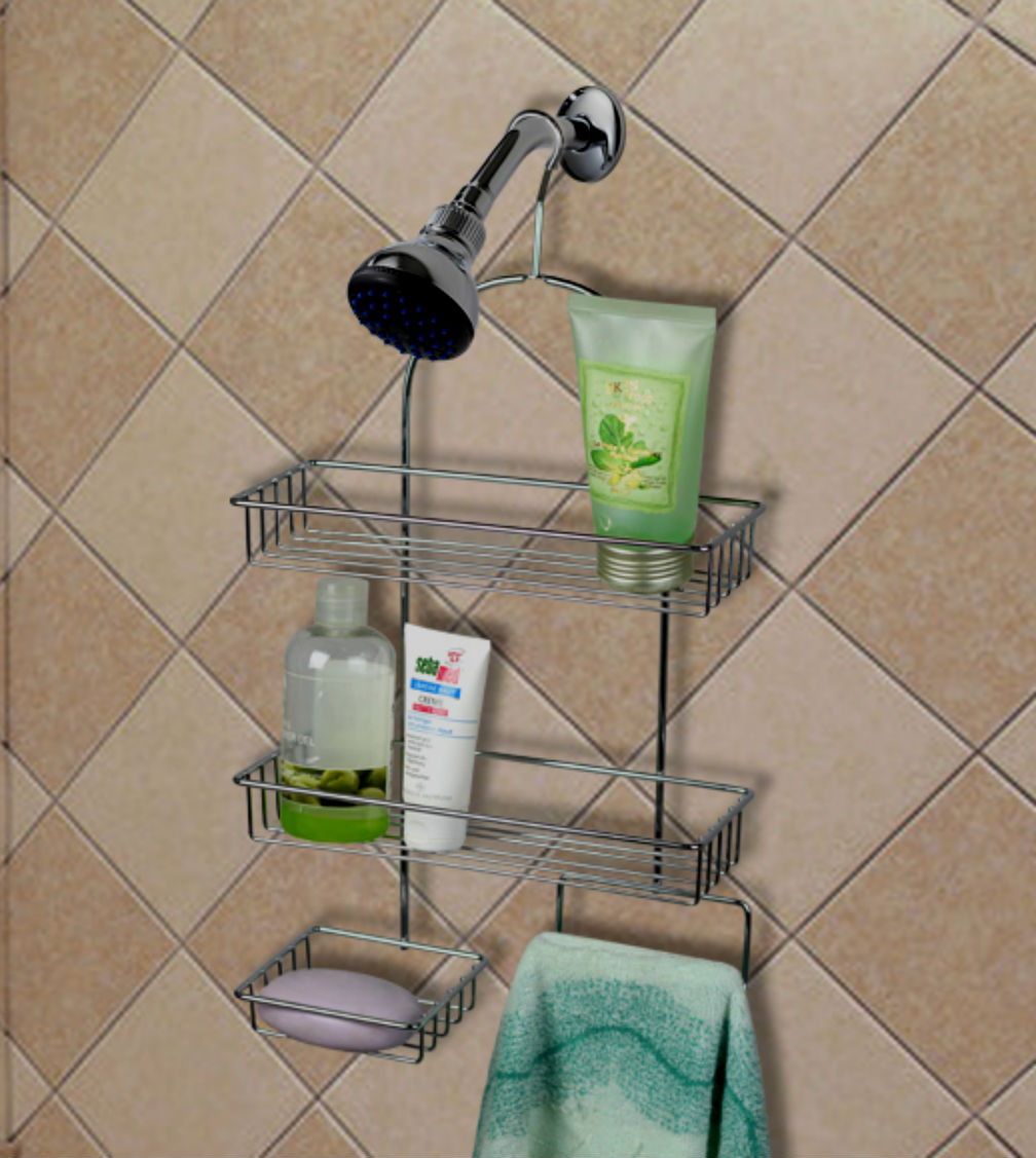Deluxe Functional Extra Small Steel 3 Tier Hanging Shower Caddy ...