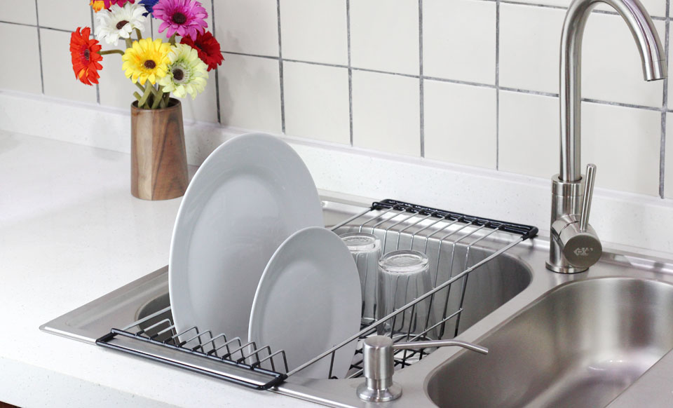 Over The Sink Kitchen Dish Drainer Rack Durable Chrome