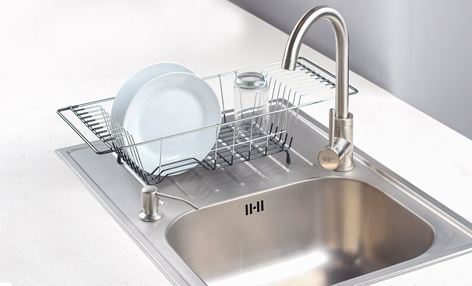 Over The Sink Kitchen Dish Drainer Rack Durable Chrome Plated Steel