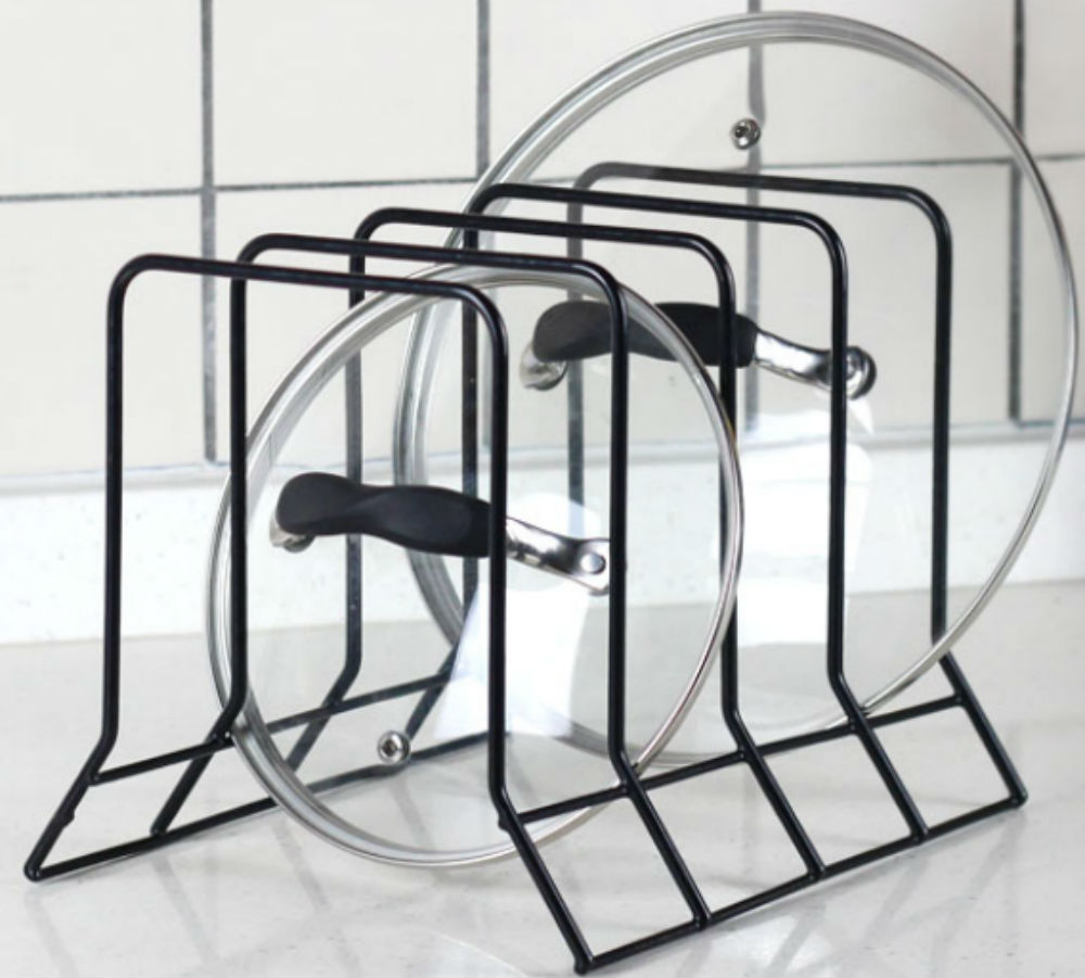 Kitchen bakeware pot lid rack holder organizer black neat o ck09067 blk at 1000 no flower workwithnaturefo